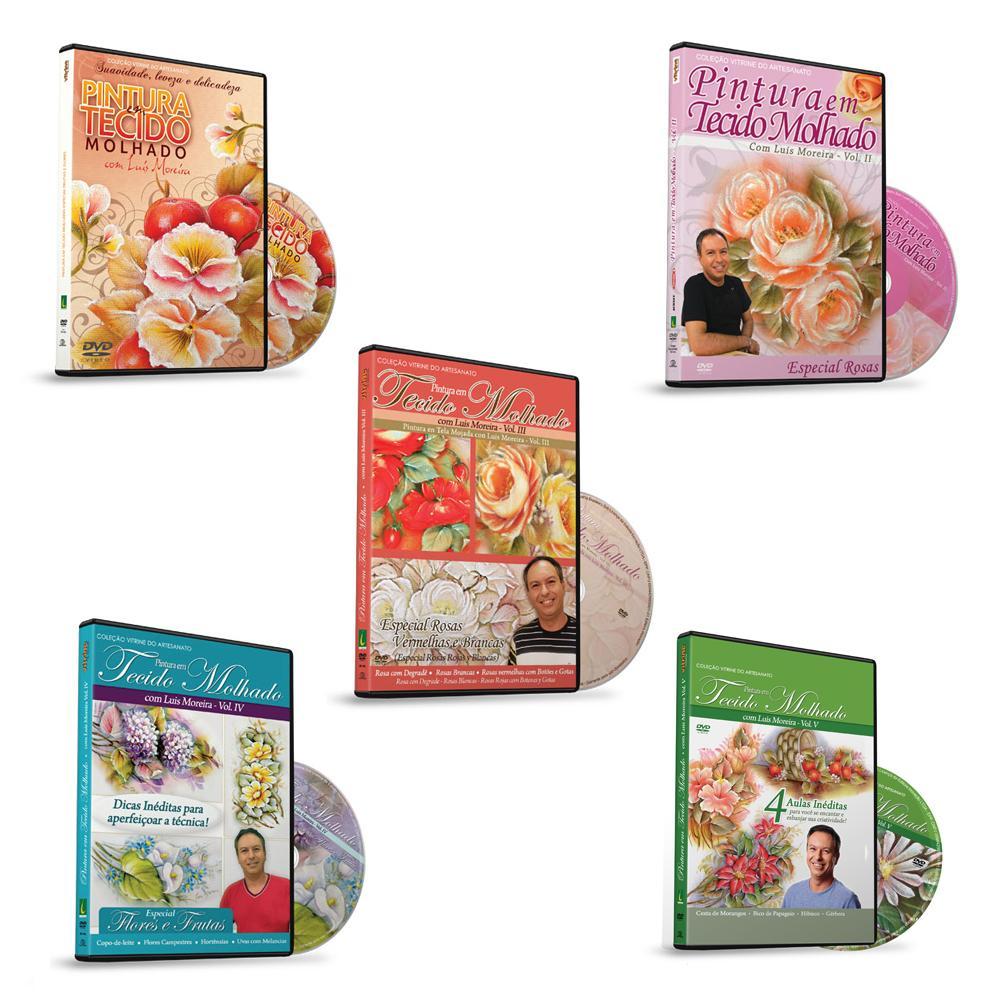 Coleção Pintura em Tecido Molhado 5 Dvds com Luis Moreira - [VA370]VA370Vitrine do ArtesanatoColeção Pintura em Tecido Molhado 5 Dvds com Luis Moreira - [VA370]